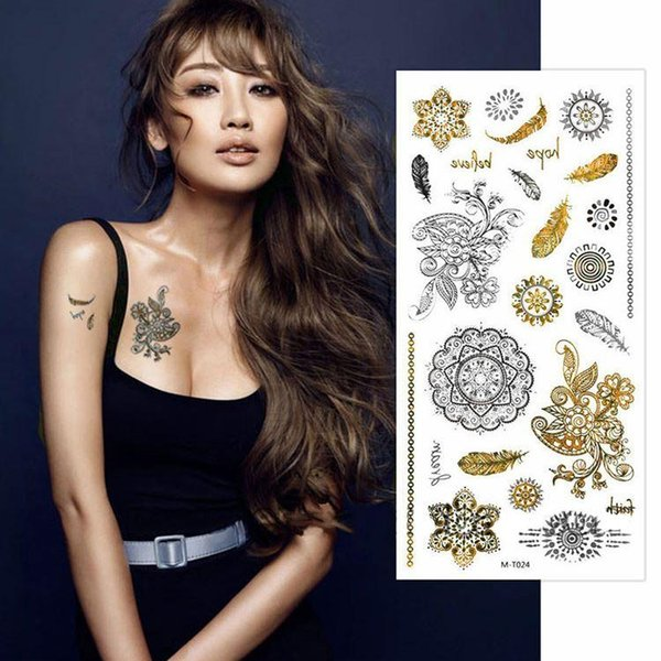 Waterproof Feathers Temporary Tattoo Stickers Stencils For Painting Body Sleeve Hand Art Flash Glitter Metal Golden Tattoos