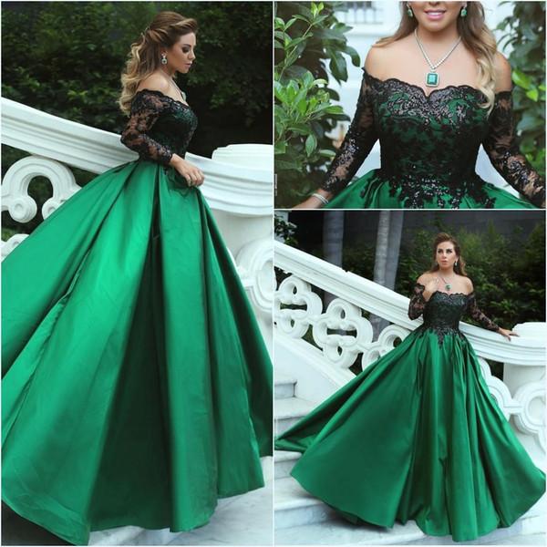 2018 new dark green off o ombro cetim vestidos de noite mangas compridas rendas uma linha até o chão festa formal vestidos de baile