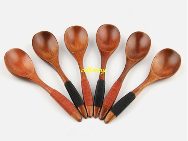 100 unids / lote 17.5 * 4 cm Cuchara de madera Estilo Japonés Cucharas de mango largo Respetuoso del medio ambiente Sopa de arroz Cuchara de postre Vajilla