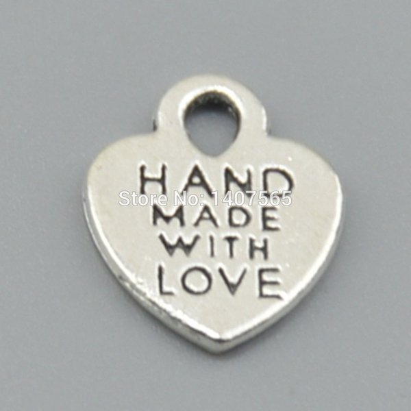 Wholesale-50pcs Antique Sliver hearts charms hand made with love Pendants for bracelet and heart charm/pendant supplies gifts