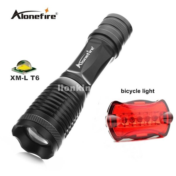 E007 Zoomable Tactical flashlight CREE XML-T6 3800LM LED Flashlight Waterproof adjustable Torch lights+Bicycle Light