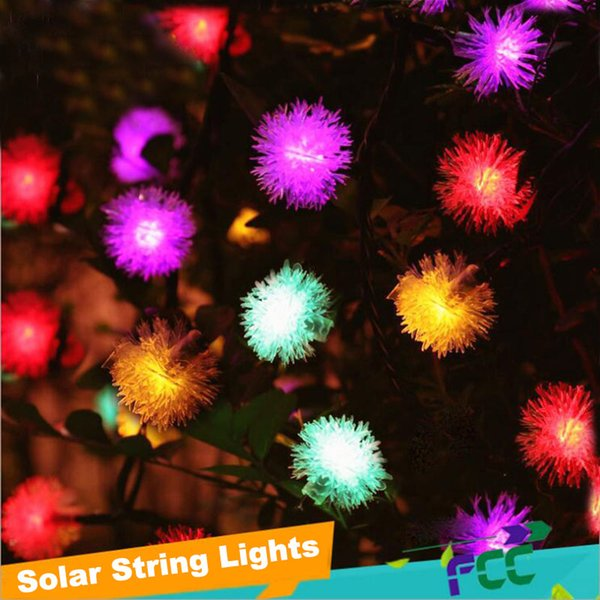 20LEDs Little Ball 20LEDs solar led string lights fuzzy ball fairy lights waterproof outdoor decoration lighting for Christmas holiday