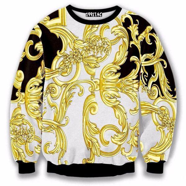 Atacado-nova moda de luxo flor de ouro hoodies 2016 outono e inverno homens clássico camisola 3D Pullover Casual hoodies sportswear