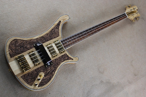 top popular RARE 4 Strings Ricken 4004 LK Lemmy Kilmister Limited Edition Natural Walnut Hand-carved Electric Bass Guitar Korea Gold Hardware 3 PickupsR 2021