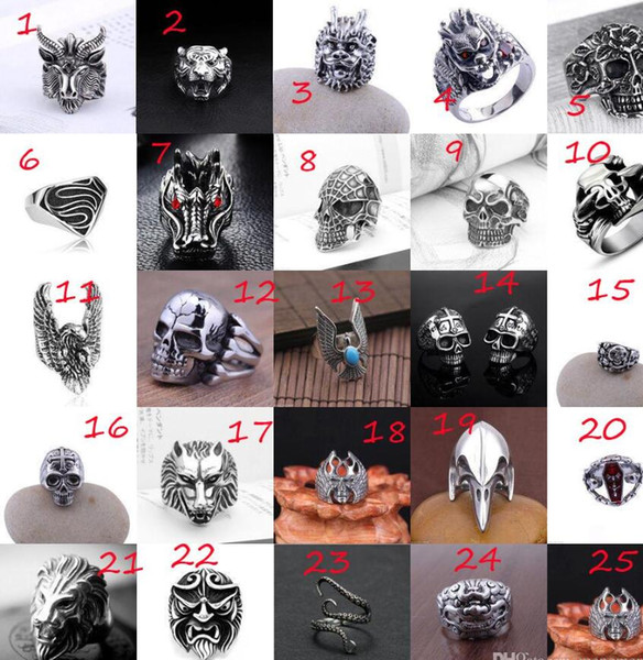 best selling Free Shipping - Men's Stainless Steel Popular New Style Selling Fashion Cool Gothic Punk Biker Finger Rings Jewelry + Free Gift