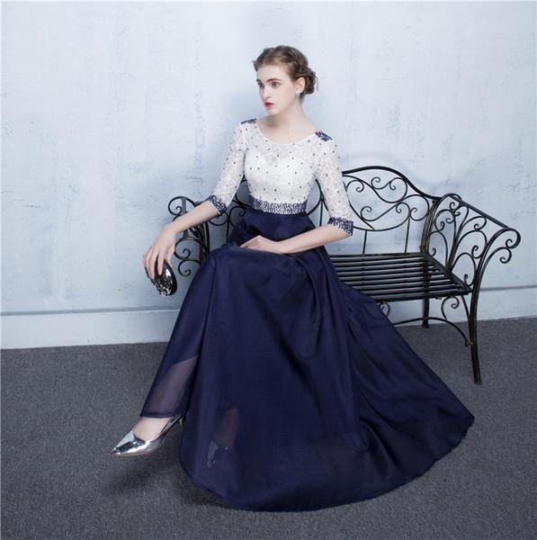 Großhandel Real Image Half Sleeve Marineblau Und Weiß ...