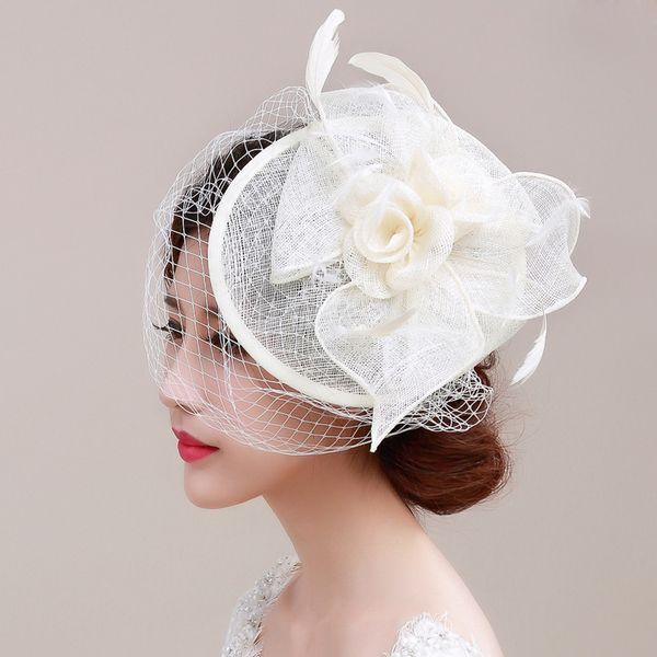 Moda fiore cappello da sposa diademi pezzi di testa fasce da sposa in cotone veli per uccelli da gabbia Jannie Baltzer accessori per capelli da sposa