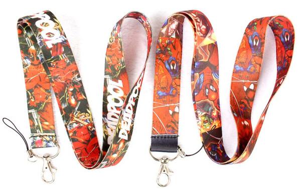Free Shipping Mix Style 100 Pcs Classic Marvel Comics Hero Deadpool Mobile Phone Neck Straps Neck Strap Keys Camera ID Card Lanyard