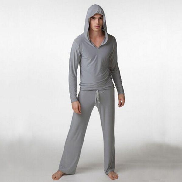 Al por mayor-Sólido Sólido Completo Al Por Mayor de la Moda de Los Hombres Cómodo Top Wear Nueva Ropa de Yoga Suave Leche de Seda Sleep Tops S M L Hombres Pijama