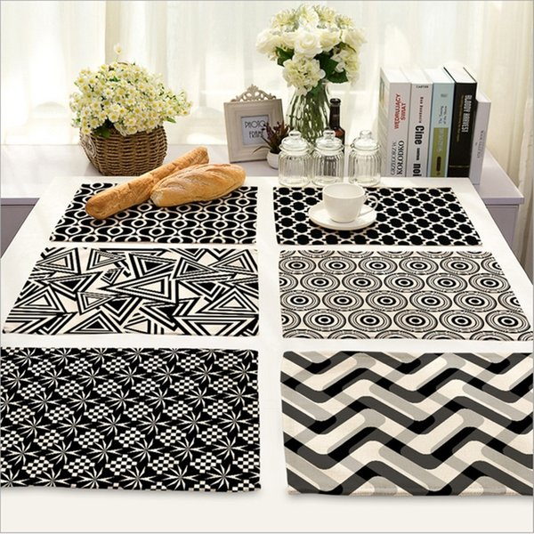 Black And White Home Decor Accessories.2019 Wholesale Home Decor Black White Stripe Placemat Linen Fabric Table Mat Dishware Coasters For Kitchen Accessories Wedding Party Decoration From