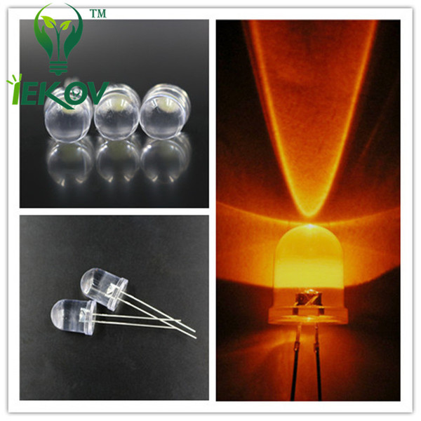 500pcs/lot LED 10mm Orange/Amber Ultra Bright LED Lamp Light Bulb 10MM Round top Emitting Diodes Electronic Components Hot SALE