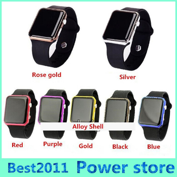 Hot New Square Mirror Face Silicone Band Digital Watch Red light alloy shell LED Watches Quartz Wrist Watch Sport Clock Hours