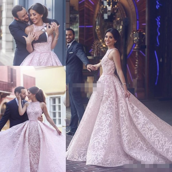 Blush Pink Lace Women Formal Evening Dresses Ball Gown Over Skirts Sleeveless Tulle 2017 Arabic Beauty Queen Pageant Dress Gowns for Prom