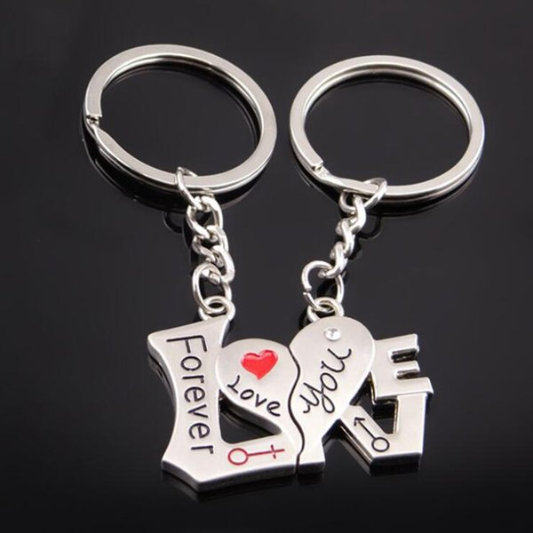 Couples Heart Shaped Keychains Footprint Rose Flower Love Keychain Key Ring Metal Zinc Alloy Keyfob Key Chain Gift for Lovers