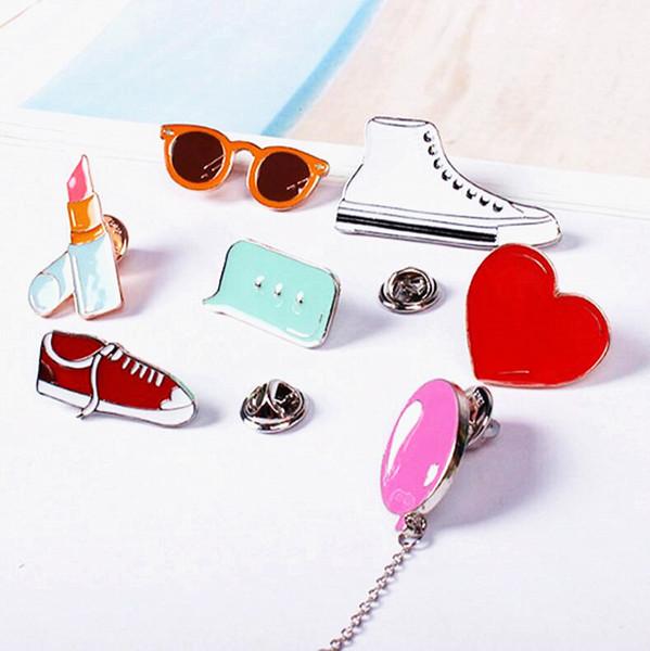 7pcs Beauty Cartoon Gym shoes Balloon Lipstick Heart Sunglass Cute Metal Brooch Pins Button Pins Gift Wholesale