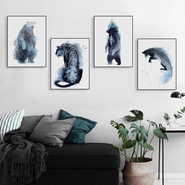Aquarell Wilde Tiere Tiger Bär Fuchs Leinwand Big Print Poster Wandkunst  Bild Moderne Wohnzimmer Wohnkultur Gemälde