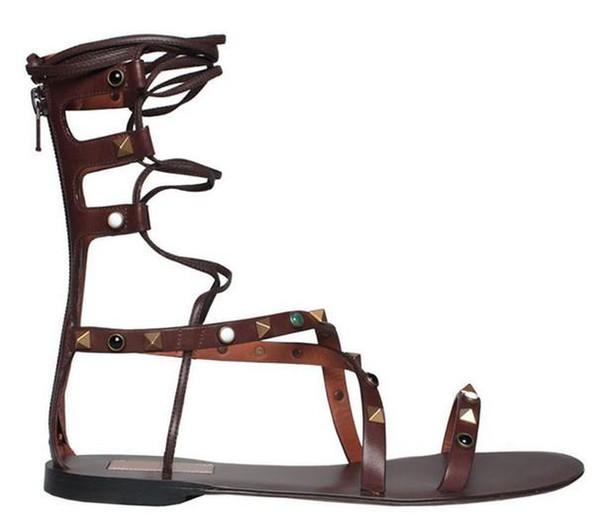 tailor made* high quality! u566 34/40 genuine leather gem rivet cross tied flat sandal gladiator v luxury designer brown fashion shoes 2016