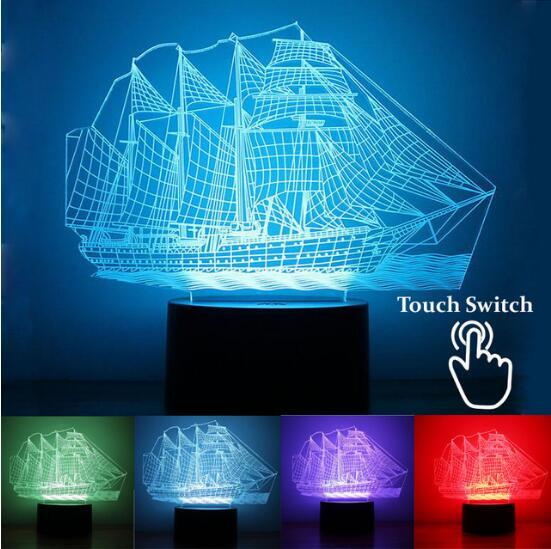 2017 Novelty 3D Sailing Boat Night Lights LED Table Lamp 7 Colors Changing USB Desk Light Kid Gift Toy Luminaria