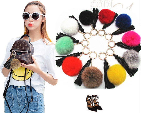Free shipping Rabbit hair ball key chain ornaments leather suede pendant tassel key chain SS0010