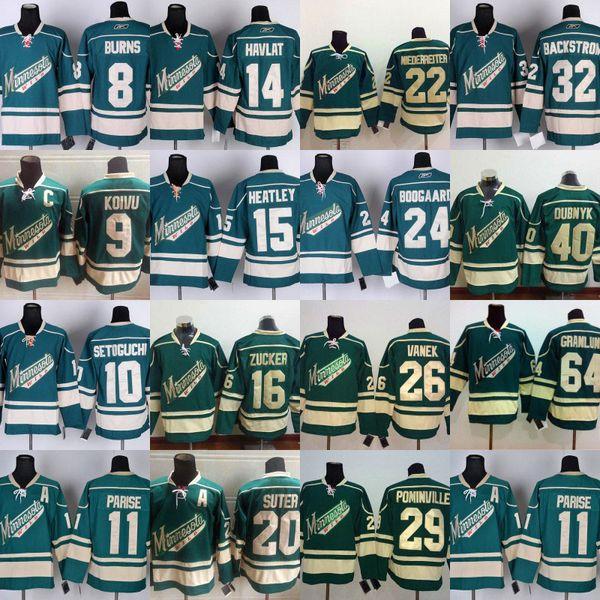 Mens Minnesota Wild 11 Zach Parise 9 Mikko Koivu 8 Brent Burns 14 Martin Havlat 15 Dany Heatley 10 Devin Setoguchi Cheap Hockey Jerseys