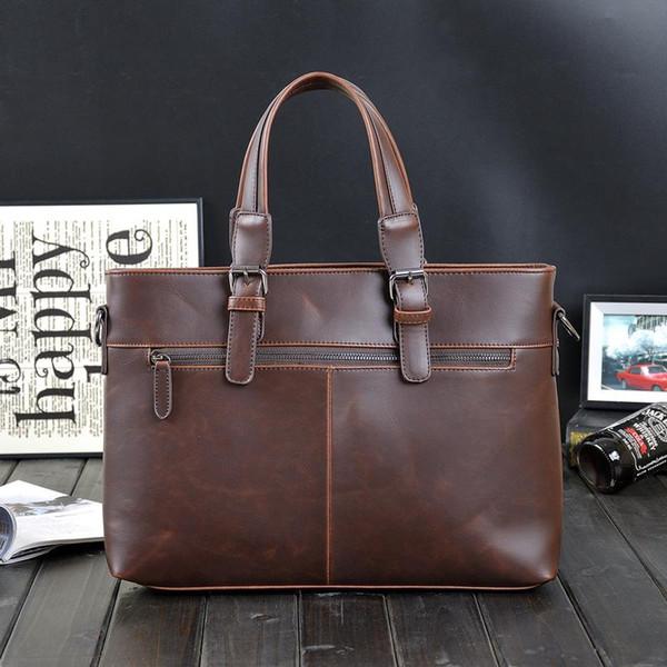 original desig brand Korean male bag retro crazy horse leather briefcase classic men's pure leisure business men Shoulder Messenger Bag