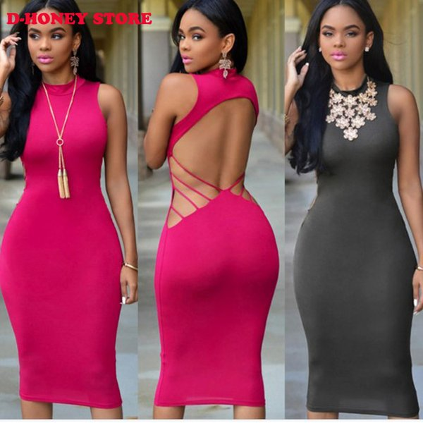 top popular Hot Sale Glossy Night Club Sexy Party Dresses Plunging Neck Bodycon Side Dress Hollow Back Women Midi Summer Dress club dresses 2019
