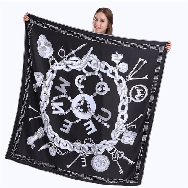 New Twill Silk Scarf Women Skull Key Printing Square Scarves Fashion Wrap Female Foulard Large Hijab Shawl Neckerchief 130*130CM
