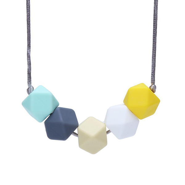 Baby Safe Silicone Teething Necklace Food Grade BPA Free Chew Beads Teething Necklace Wholesale Nursing Jewelry Chewable Teether Mum Jewelry