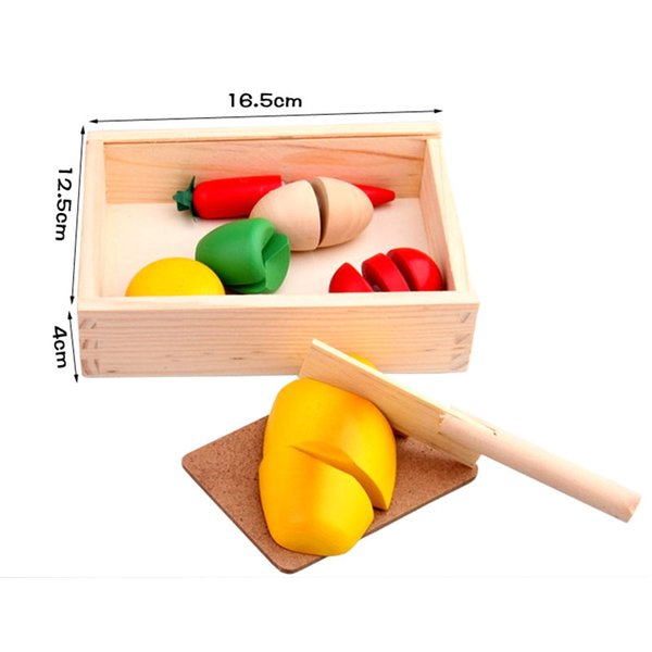 Wholesale- Wood Kitchen Vegetable Cutting Children Pretend Roleplay Development Learning toys for child Wooden