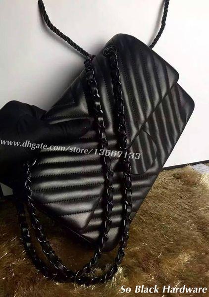 So Black Hardware Chain Shoulder Bag Women's Black Lambskin V Quilted Flap Bags 25.5CM Genuine Leather Jumbo Chevron Handbags 30CM
