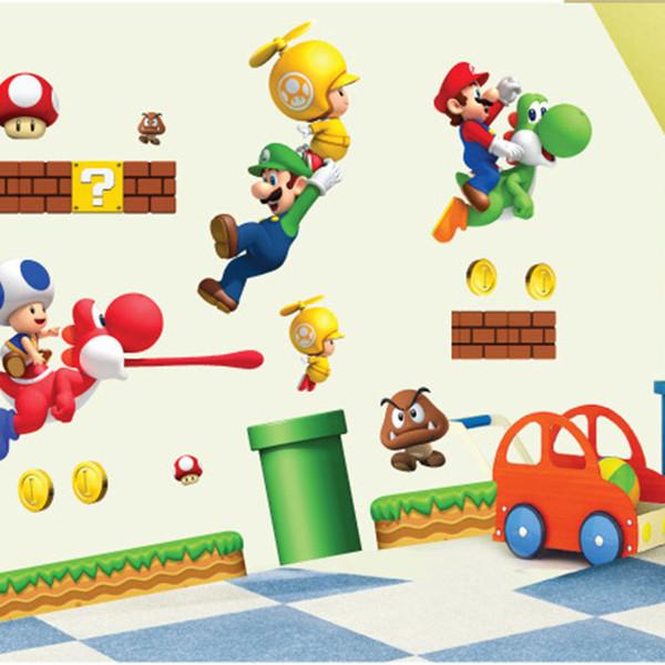 Super Mario Bros Kids Nursery Room Kindergarden Removable Home Decor  Cartoon Wall Sticker Decals Mural Art