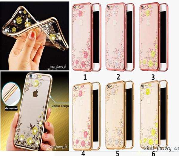 iPhone 6 s Bling Kristal Elmas Rhinestone Vaka Gizli Çiçek Bahçe Galvanik TPU Arka Kapak Ultra İnce Koruyucu iPhone 6 için 6 S Artı