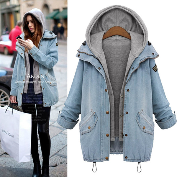 Wholesale- 2016 New Fashion Autumn Winter Warm Ladies Coats Women Outerwear Suits 2 Pieces Denim Jacket Plus Size Hat Sweatshirts M-4XL