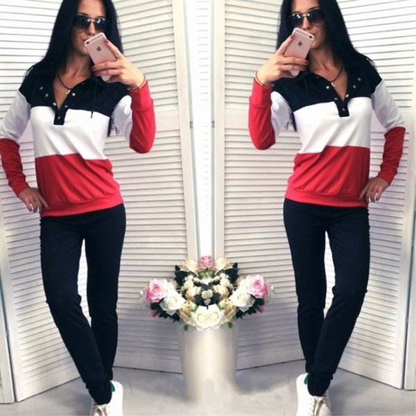 Hot Sale! New Women active set tracksuits Hoodies Sweatshirt and Pant Running Sport Track suits 2 Pieces jogging femme long sleeve clothes