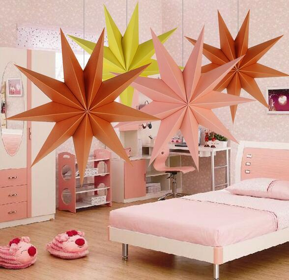 best selling 30cm ,45 cm 60 cm Nine Angles Paper Star Home Decoration Tissue Paper Star Lantern Hanging Stars For Christmas Party Decoration.