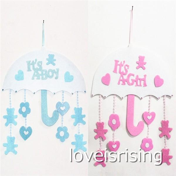 New Arrivals -1pcs/lot Blue/Pink Color Cute Non woven Boy & Girl Baby Showers Christenings Baby Birthday Party Supplies Hanging Decoration