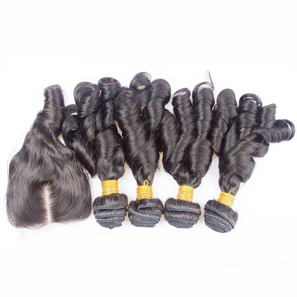 Brazilian Aunty Funmi Human Hair 4Bundles With 4x4 Lace Closure 5Pcs Lot Bouncy Curls Brazilian Funmi Hair Weaves With Closure Middle Part