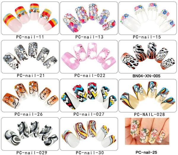 Wholesale Mixed 12 Sets/Lot (24pcs/set) Pre-designed Medium Full Cover Square False Nails Finger Salon Manicure DIY Nail Art Tips
