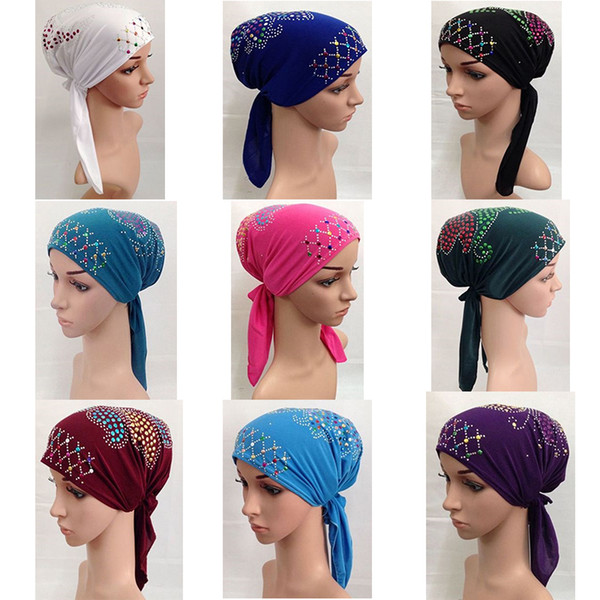 Wholesale-Muslim Cotton Full Cover Inner Hijab Cap Islamic Head Wear Hat Underscarf with Belt Bandage Beautiful Sequins