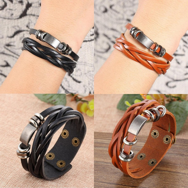 196ea71c590f0 Fashion Mens Leather Braided Wrap Bracelet Charms Wristband Cuff Bangle  Jewelry Charm Silver Bracelet From Happytraveltime, $1.73| DHgate.Com