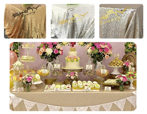 best selling Free Shipping 125x180cm Champagne Gold Silver Embroidery Mesh Sequin Tablecloth Sequin Table Overlay for Wedding Party Decora