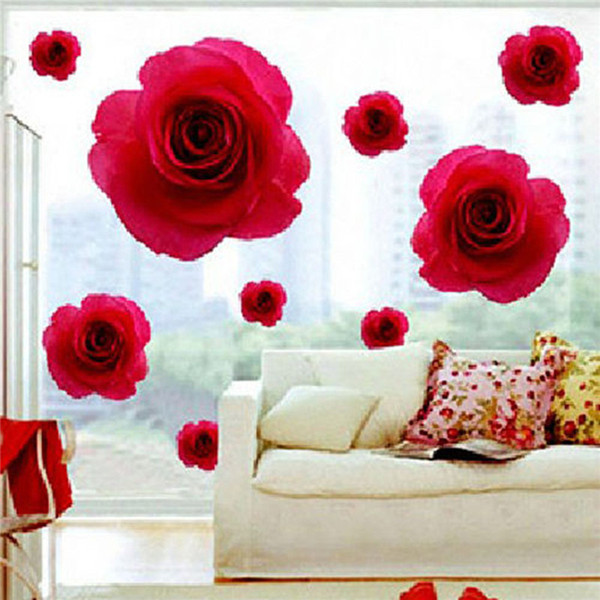 Elegant red rose flower wall sticker decals removable home decor vinyl beautiful flowers rose wallpapers
