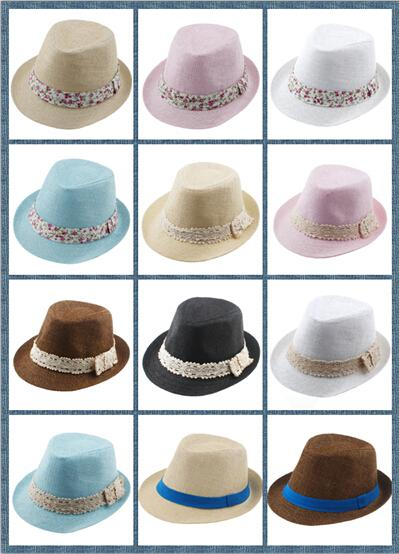 8% de descuento Kids Straw Fedora Hat Baby Summer Straw lace Broken lado hermoso Hat Boys Girls Jazz gorra Straw Fedoras Baby Strawhat Mix orden 10pcs