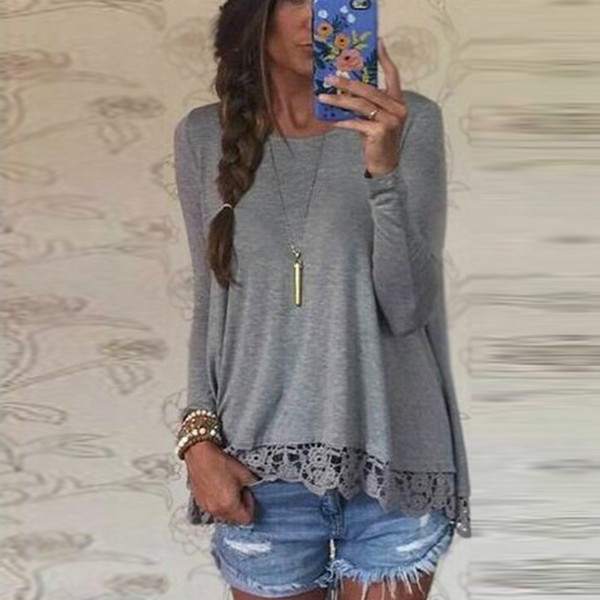 a76d1a6c61ef6 Wholesale-New Fashion 2016 Autumn T Shirt Women Long Sleeve O-Neck Casual  Tops Sexy Lace Crochet Top Tees Blusas Plus Size