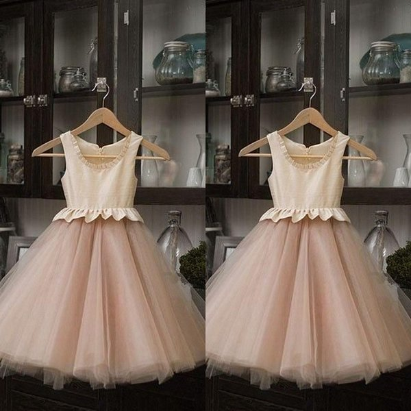 Real Image 2019 Light Champagne and Blush Pink Flower Girl Dresses For Weddings Cheap Jewel Peplum Ankle Length Kids Birthday Party Clothes
