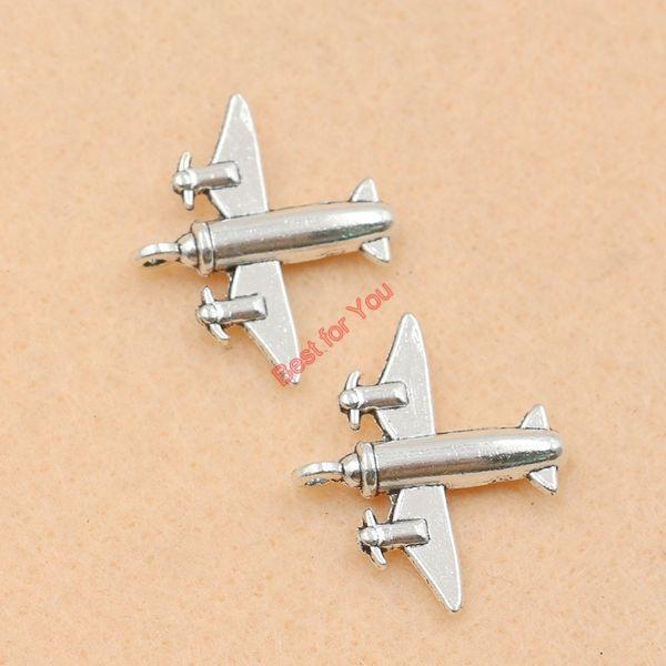 80 pcs Tibetano Prata Banhado A Avião Charme Moda Pingentes para Fazer Jóias Diy Descobertas Jóias 21x24mm fazer jóias