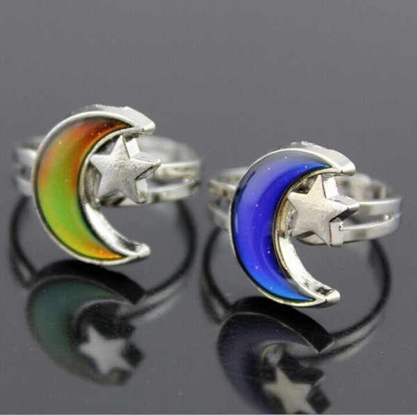 best selling Mixed 6 Fashion Moon and Star Heart Clover tortoise Color Change Mood Ring Emotion Feeling Changeable Temperature Control Adjustable ring