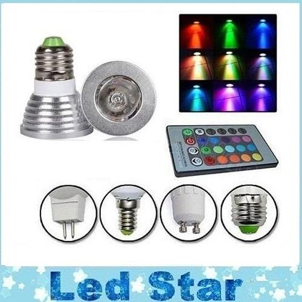 For Christmas/Party/KTV Lighting RGB 3W Led Spot Lights E27 MR16 GU10 Led Lights Bulbs Memory Colorful Change AC 85-265 + 24keys Controller