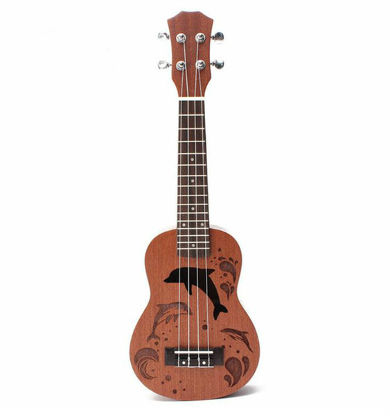 "top popular 21"" Mini Sapele Dolphin Pattern Ukulele Rosewood Fingerboard 4 Strings Guitarra Guitar For Musical Instruments Beginner 2021"