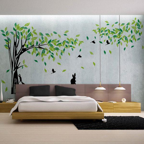 Büyük Yeşil Ağaç Duvar Çıkartması Vinil Oturma Odaları Tv Duvar Çıkartılabilir Art Decals Ev Dekorasyonu Diy Poster Çıkartmaları Vinilos Paredes